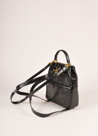 Lana Marks Black Alligator Convertible Backpack Backview