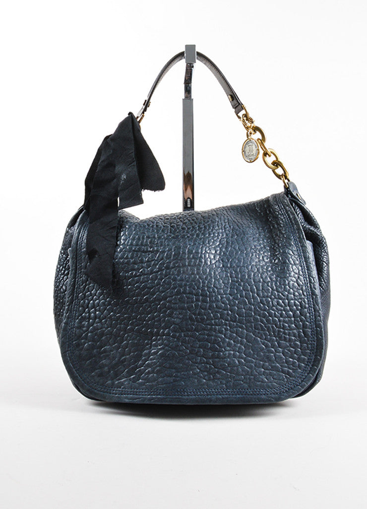 Lanvin Navy Blue Pebbled Leather Chain Strap Flap Shoulder Bag Frontview