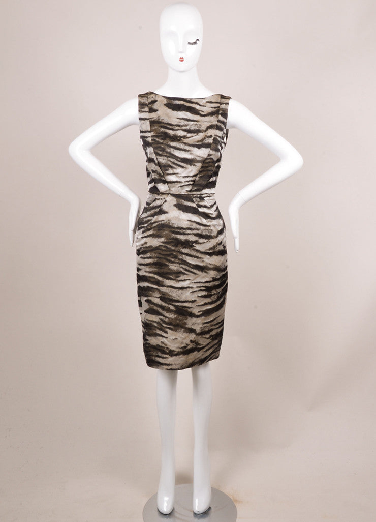 Lanvin New With Tags Black and Grey Silk Zebra Print Sleeveless Shift Dress Frontview