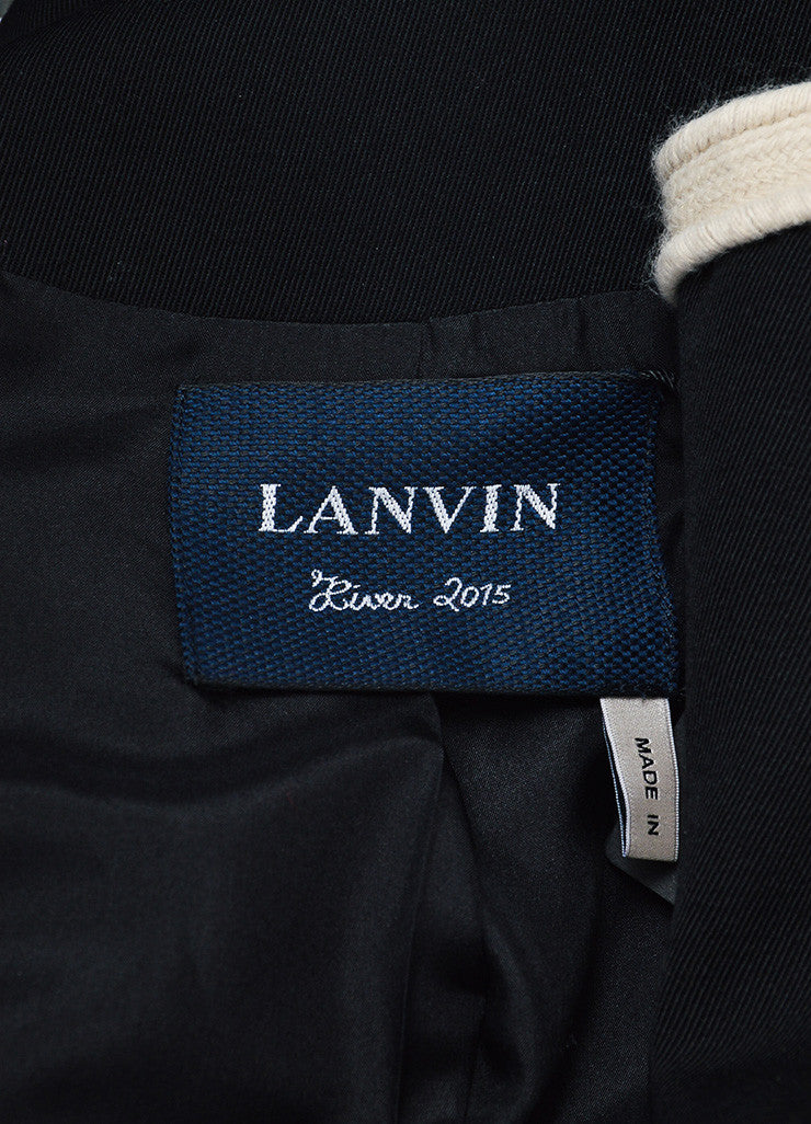 Black and Beige Lanvin Wool Braided Trim Collarless Cropped Jacket Brand