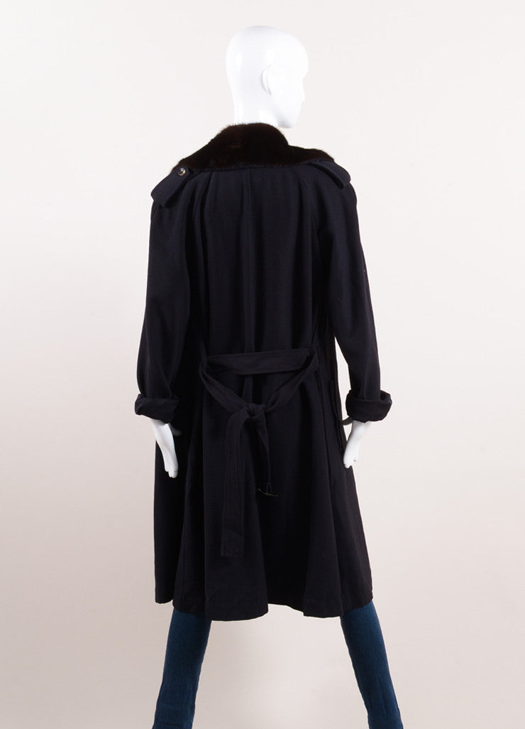 Lanvin Navy and Brown Wool Mink Collar Double Breasted Belted Trench Coat Backview