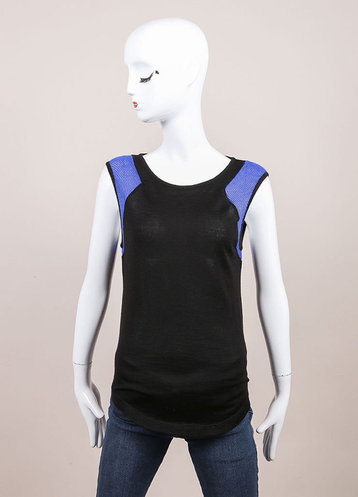 Leetha New Black and Blue Sleeveless Cashmere and Silk Perforated Shoulder Top Frontview