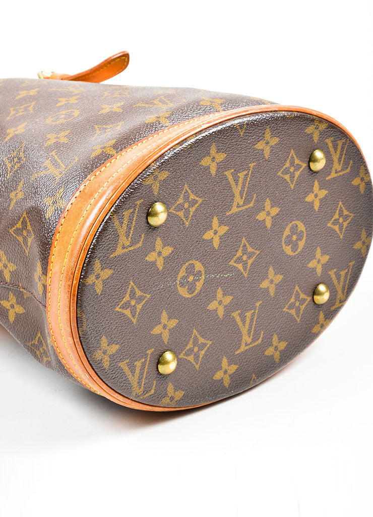 "Louis Vuitton Brown Coated Canvas ""Petite Bucket"" Bag Bottom"