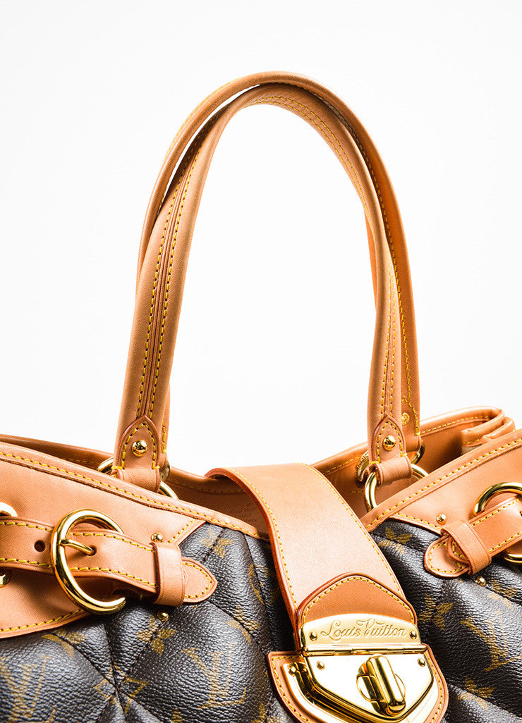 "Louis Vuitton Brown and Beige Coated Canvas and Leather ""Etoile Shopper"" Bag Detail 2"