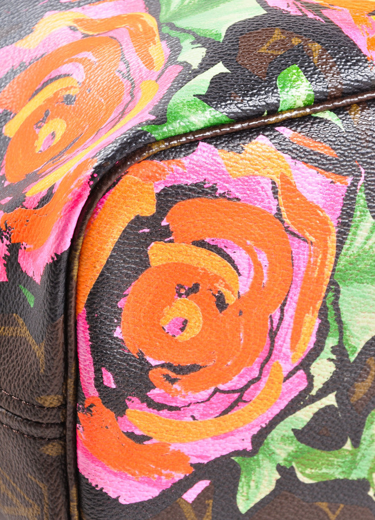 "Louis Vuitton x Stephen Sprouse Brown and Pink Monogram Canvas Roses ""Neverfull"" Tote Bag Detail"