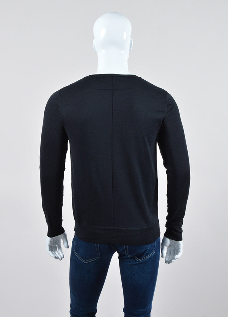Men's Givenchy Black and Navy Knit Cotton Polyester Front Long Sleeve Shirt Backview