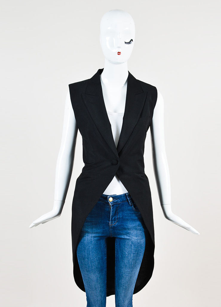 Maison Martin Margiela Black Wool Blend Full Length Tuxedo Vest Frontview 2
