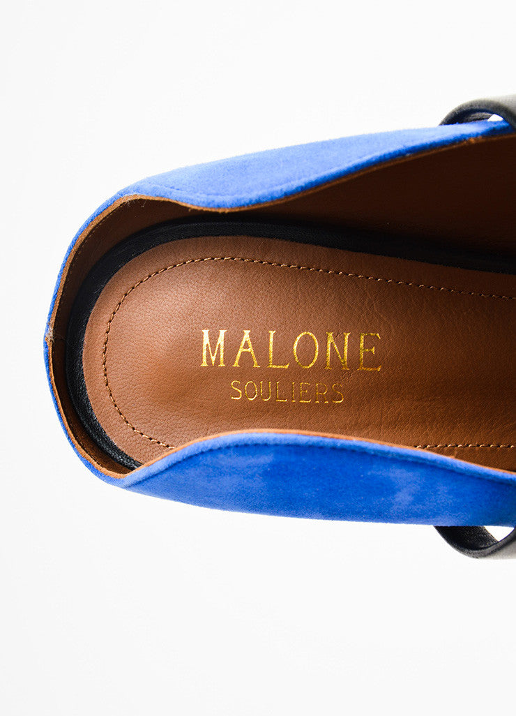 Royal Blue Malone Souliers Suede Leather Strap Pumps Brand