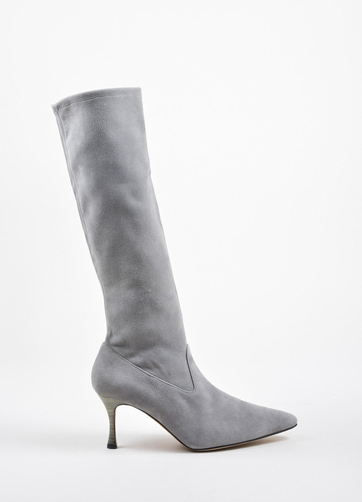 Manolo Blahnik Grey Suede Pointed Toe Heeled Knee High Boots Sideview