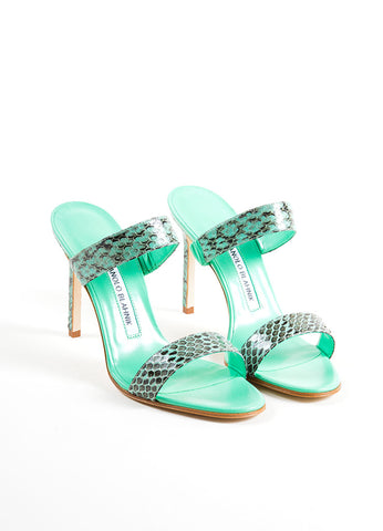 "Manolo Blahnik Green and Black Snakeskin ""Muluca"" Mule Sandals Frontview"