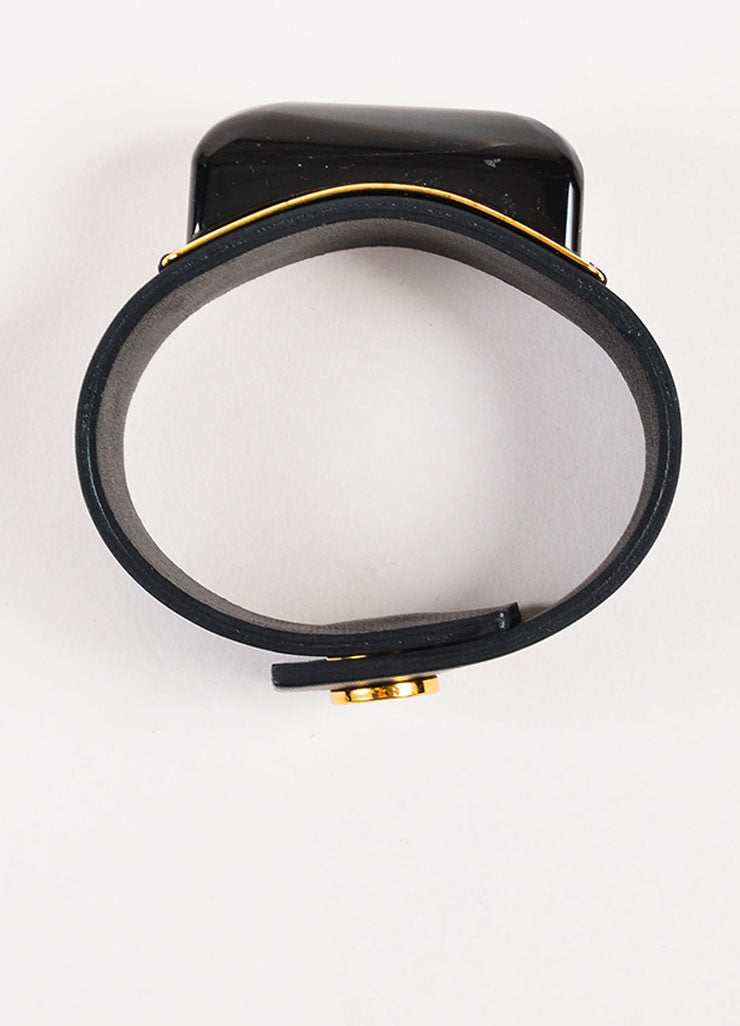 Marni Black and Gold Toned Leather and Resin Stone Snap Button Cuff Bracelet Topview