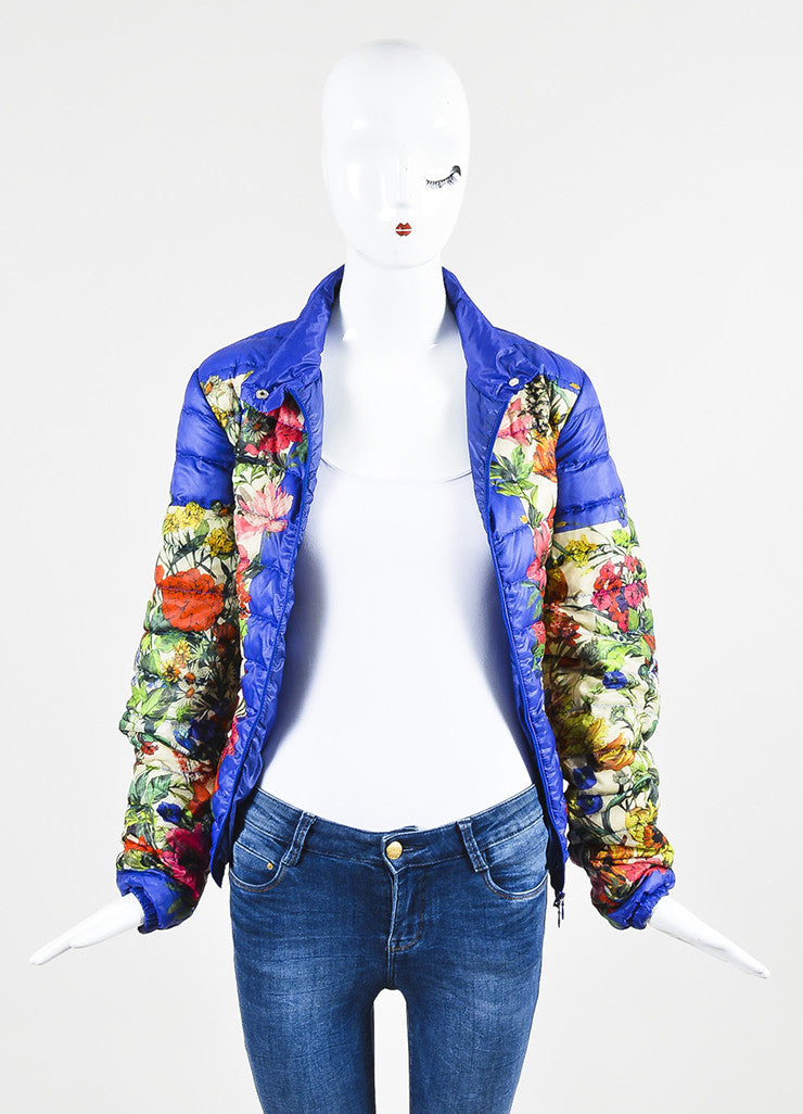 Moncler Blue and Multicolor Nylon Down Floral Print Puffer Jacket Frontview