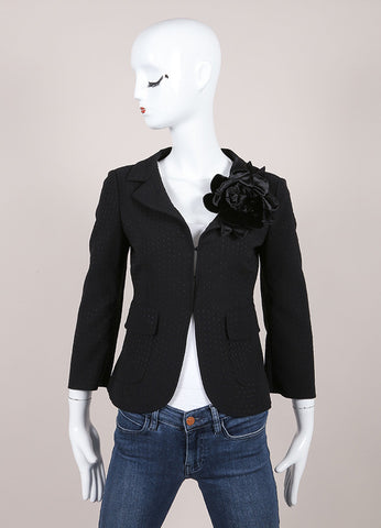 Moschino Black Woven Velvet Flower Applique Stitch Trim Blazer Frontview