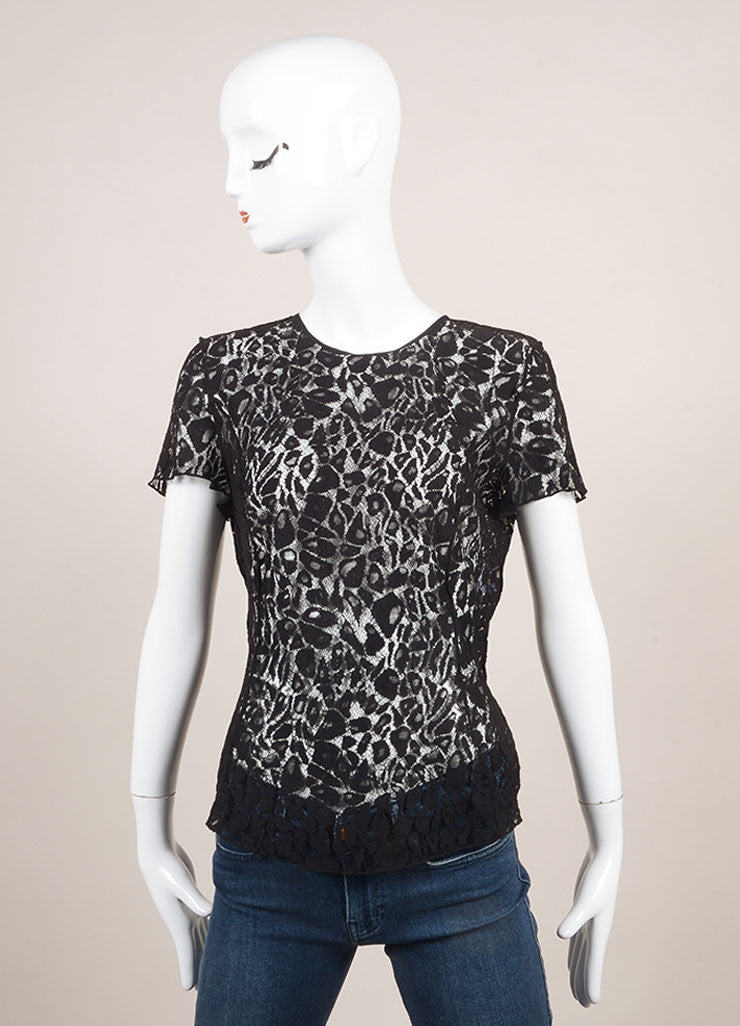 Nina Ricci Black Lace Paneled Sheer Short Sleeve Top Frontview
