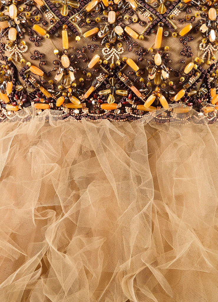Oscar de la Renta Brown and Orange Beaded Layered Tulle Strapless Gown Detail