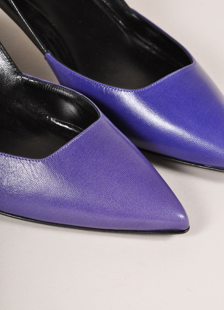 Pierre Hardy New In Box Blue and Black Leather Two Tone Pointed Kitten Heels Details