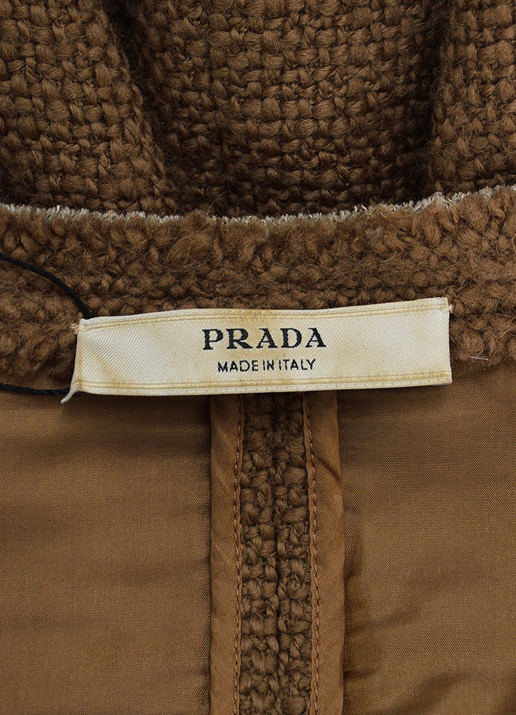 Prada Brown Tweed Frayed Edge Embroidered Pocket Jacket Brand