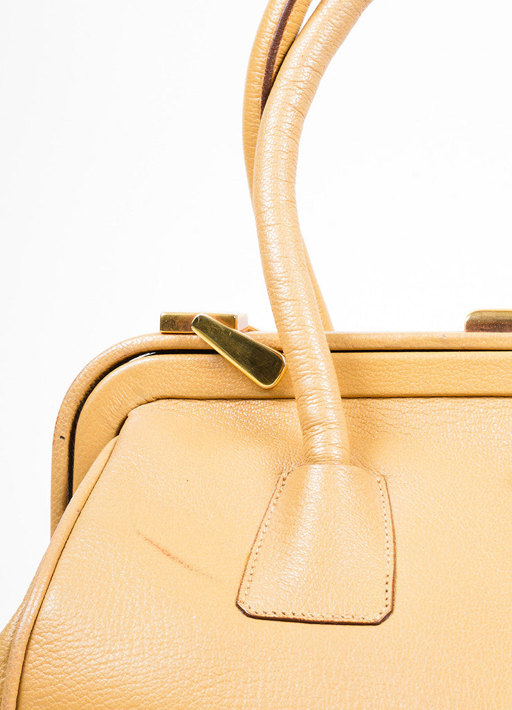 Camel Tan Prada Pebbled Leather Double Handle Push-Lock Frame Satchel Bag Detail 2