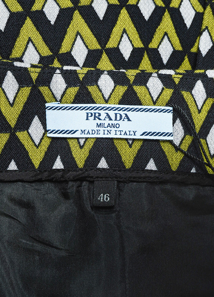 Prada Green and Black Woven Geometric Beaded Wrap A Line Knee Length Skirt Brand