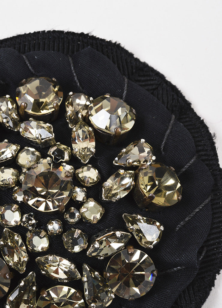 Prada Black Silk Twill Clear Jewel Circle Brooch Pin Detail