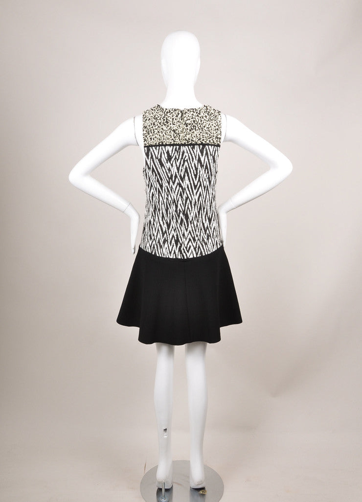 Proenza Schouler New With Tags Black and White Plastic Jacquard Drop Waist Dress Backview
