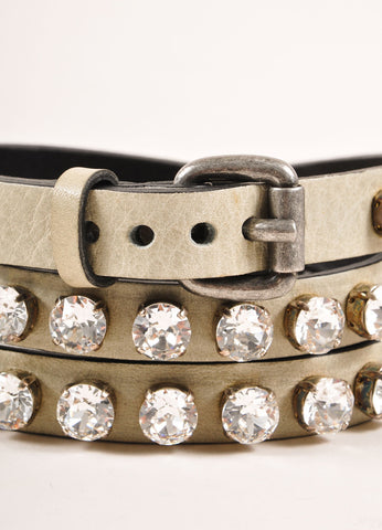Ronald Pineau New With Tags Grey Leather Rhinestone Studded Skinny Belt Detail