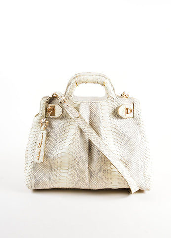 Cream and Brown Salvatore Ferragam Snakeskin Leather Top Handle Handbag Frontview