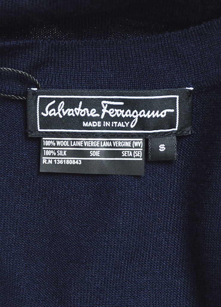 Salvatore Ferragamo Navy Blue and White Wool and Silk Leopard Print Cardigan Brand
