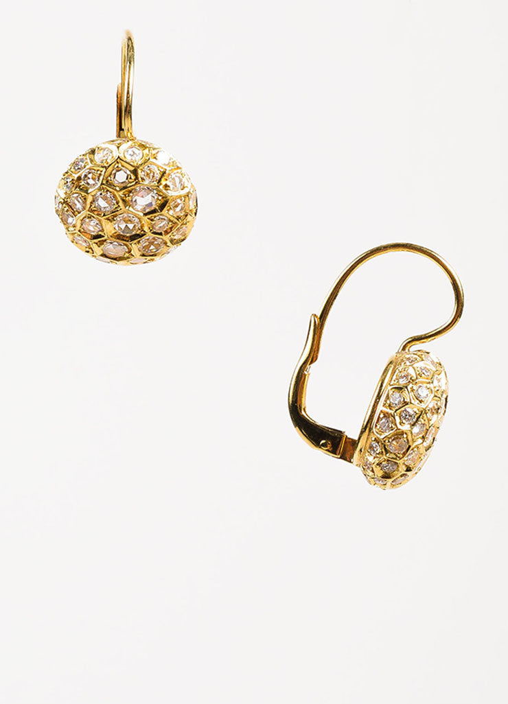 "Sidney Garber 18K Yellow Gold and Diamond ""Honeycomb"" Drop Earrings Sideview"