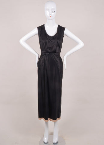 Sonia Rykiel New With Tags Black and Blush Cotton Sleeveless Ruffle Midi Dress Frontview