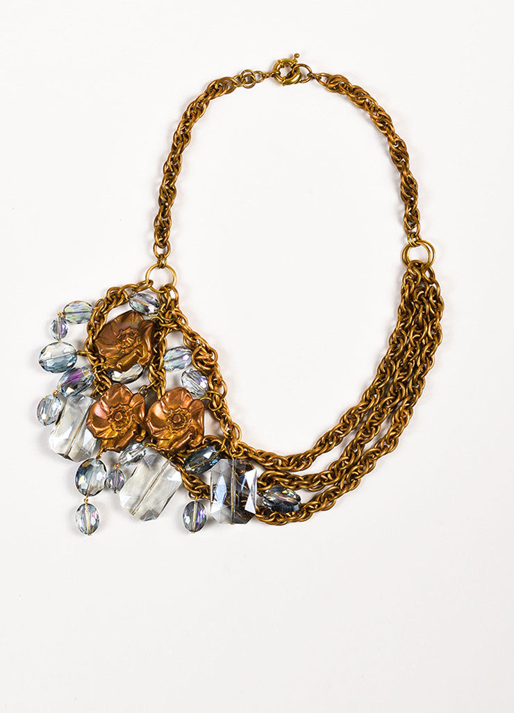 Susanna Galanis Vintage Brass Smokey Crystal Flower Charm Necklace Frontview