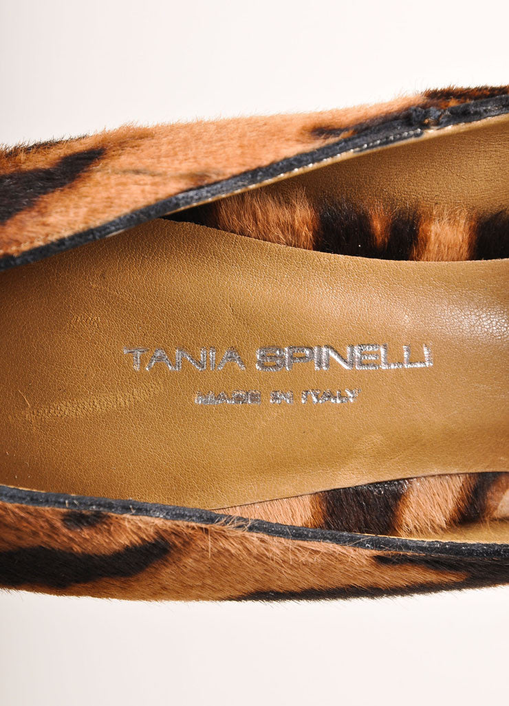Tania Spinelli New In Box Tan and Black Pony Hair Tiger Print Platform Pumps Brand