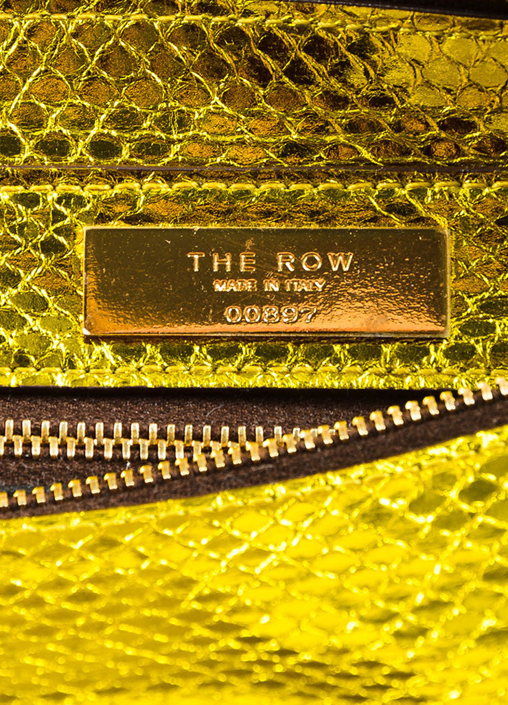 The Row Gold and Yellow Metallic Python Small Flap Bag Brand