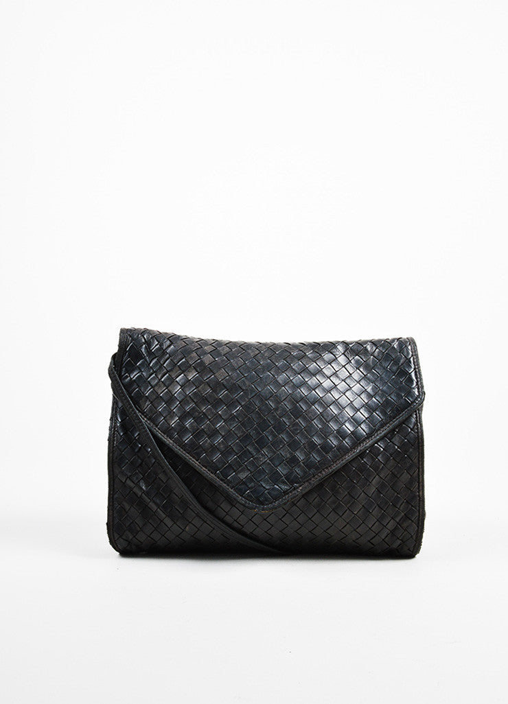 Bottega Veneta Black Woven Leather Shoulder Flap Bag Frontview