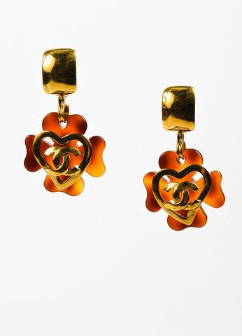 Gold Toned and Tortoise Resin Chanel 'CC' Heart Clover Clip On Earrings Frontview