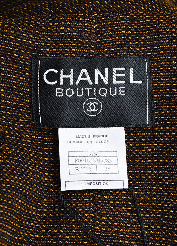 Chanel Brown and Black Wool Woven Double Breasted Button Up Jacket Brand