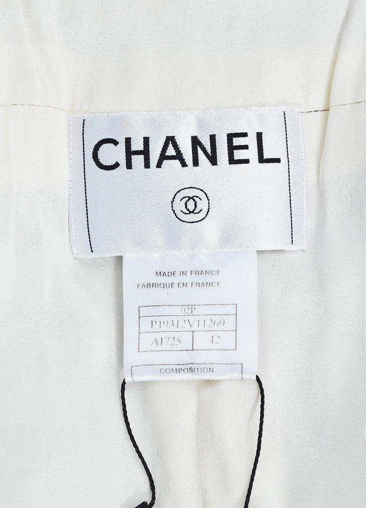 Chanel Beige and Metallic Wool Blend Long Structured Jacket Brand