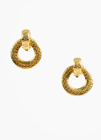 Chanel Gold Toned Letter Script Convertible Post Hoop Clip On Earrings Frontview