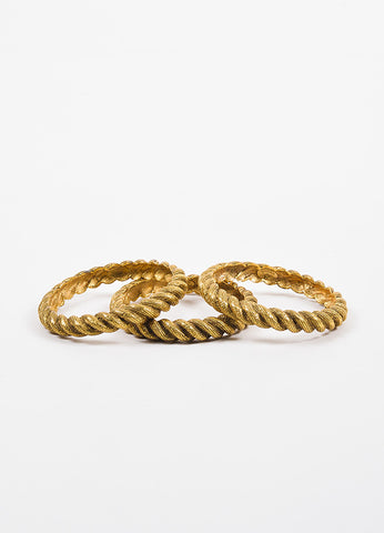 Chanel Gold Toned Textured Etched Rope Set of 3 Bangle Bracelets Frontview