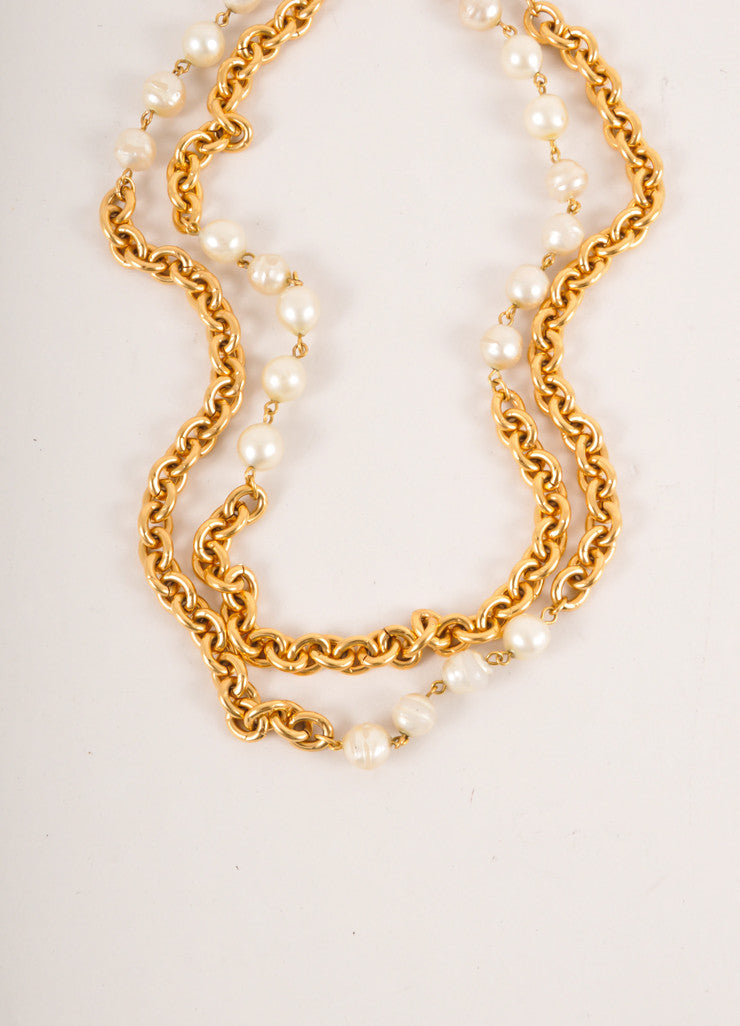 Chanel Gold Toned and Cream Faux Pearl and Chunky Chain Long Double Strand Necklace Detail