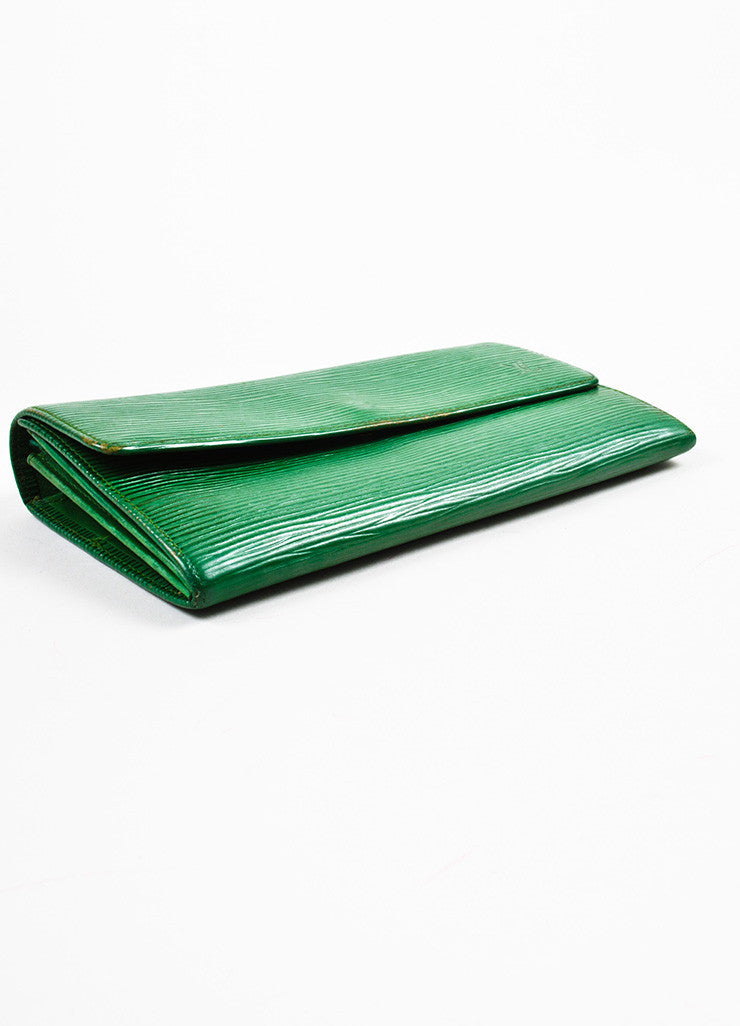 Louis Vuitton Green Epi Leather Long Wallet Bottom View