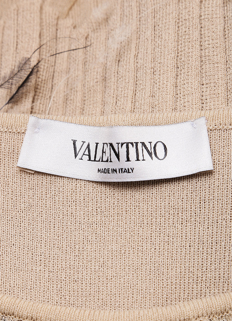 Valentino Beige Fitted Tiered Feather Dress Brand