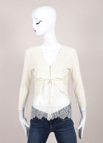 Valentino Cream Ribbed Knit Lace Satin Trim Crop Sleeve Cardigan Sweater Frontview