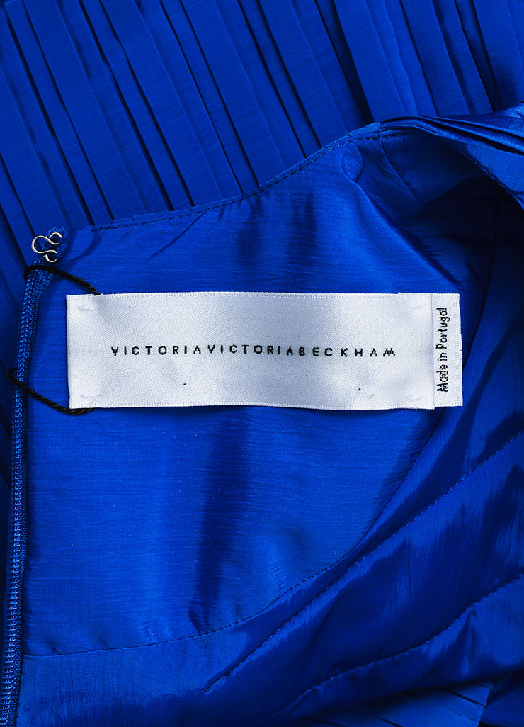 Cobalt Blue Victoria Victoria Beckham Taffeta Pleated Belted Dress Brand