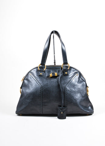 "Yves Saint Laurent Black Leather ""Muse"" Handbag Frontview"