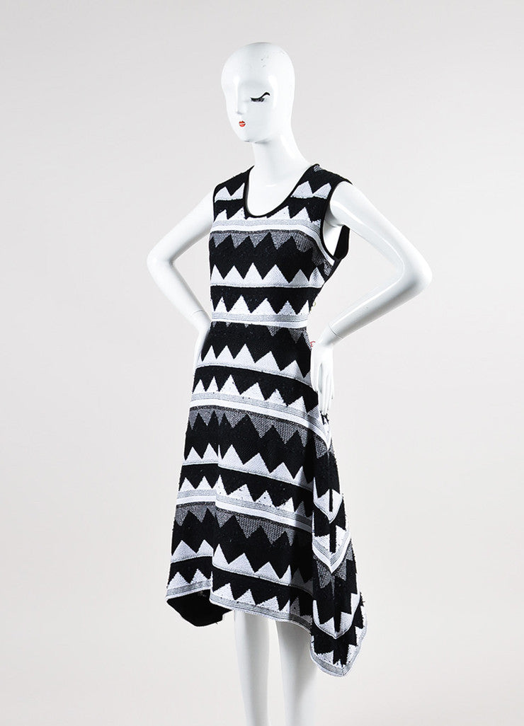 Black and White Yigal Azrouel Zig Zag Sleeveless Dress Front