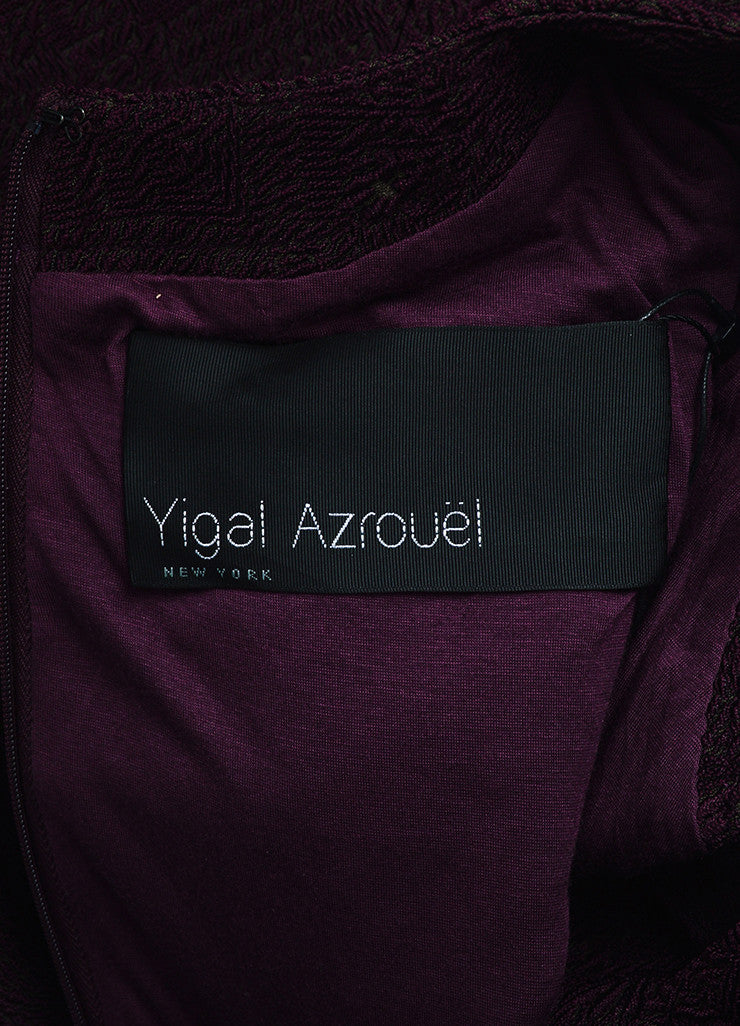 Yigal Azrouel Purple Jacquard Long Sleeve Flounce Dress Brand