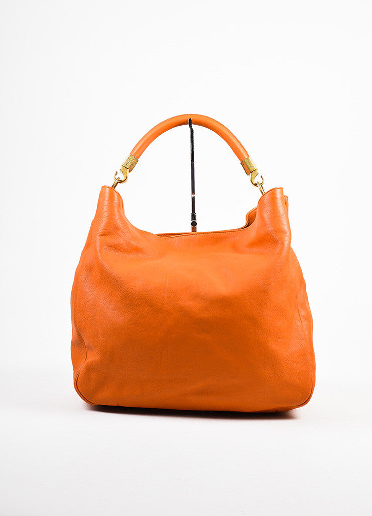 "Yves Saint Laurent Orange Leather ""Roady"" Tote Bag Frontview"