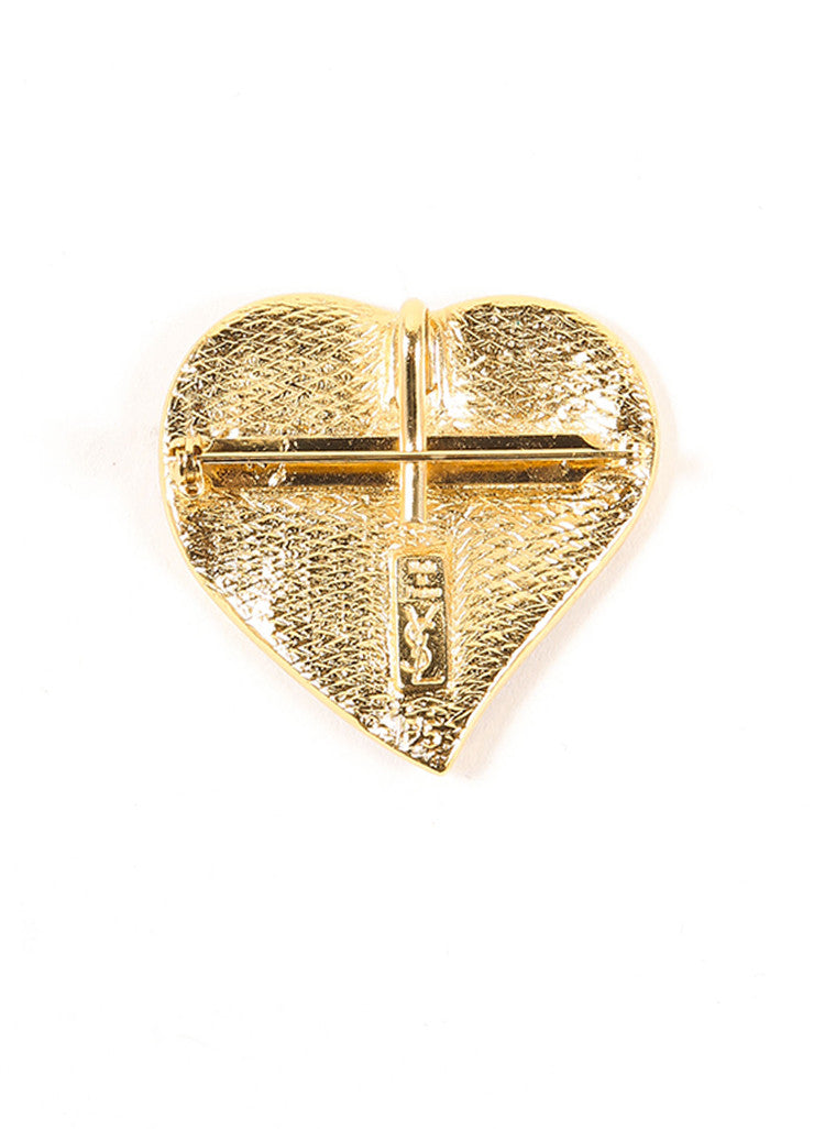 Yves Saint Laurent Red and Gold Toned Enamel Heart Pin Brooch Bottom View