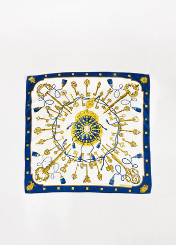 "Hermes Cream, Navy, and Gold Silk Key Print ""Les Cles"" Scarf Frontview 2"